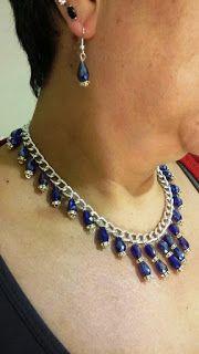 Mis diseños joyería y bisutería: Collar y aretes de cristal checo, en gota con zirc...