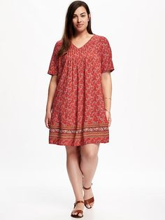 Pintuck Plus-Size Trapeze Dress