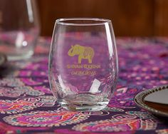 Add your names and wedding date to this beautiful elephant wine glass for a wonderful favor guests can take home!