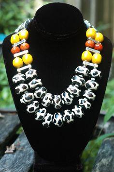 Safari Necklace: Exotic Zebra Print, Orange, Yellow & Silver Tribal Statement Necklace African Jewelry, Tribal Jewelry, Unique Jewelry, Jewelry Ideas, Diy Jewelry, Giraffe Print, Zebra Print, Washer Bracelet, Beaded Cross