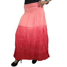 Mogulinterior Skirts-Hippie Gypsy Skirt Red Tie Dye Bohemian Long Maxi Womens Peasant Skirts