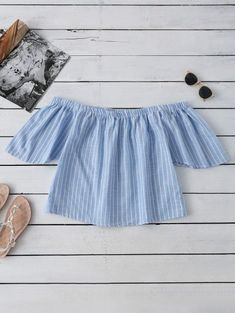 SHARE & Get it FREE | Striped Off Shoulder Blouse - Light BlueFor Fashion Lovers only:80,000+ Items • New Arrivals Daily Join Zaful: Get YOUR $50 NOW!