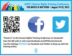 AFGE's Human Rights Training Conference takes place August 19-22, 2013 in Pittsburgh, Pa. An excellent opportunity for labor activists to learn more about collective bargaining, EEO training, conflict resolution and diversity training. #HRT2013