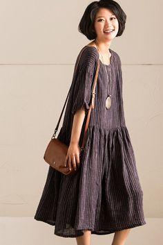 Black Cotton Linen Stripe Summer Shirt Dresses Women Clothing Q1020B