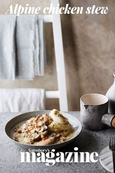 This creamy chicken stew is inspired by a traditional Swiss dish of steak in a mushroom sauce. Serve with mash, pasta or rice. Creamy Chicken Stew, Stew Chicken Recipe, Easy Chicken Recipes, Savoury Recipes, Healthy Recipes, Mushroom Sauce, Quick Snacks, Weeknight Dinners, Winter Food