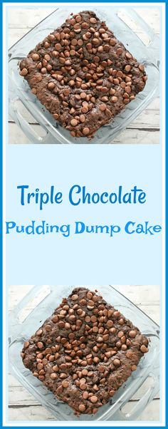 Triple Chocolate Pudding Dump Cake is Triple chocolate deliciousness! That's what this triple chocolate pudding cake is all about. Bake one up soon and taste for yourself how amazing this cake is. Chocolate Pudding Cake, Chocolate Cake Mixes, Easy Desserts, Delicious Desserts, Yummy Food, Cake Recipes, Dessert Recipes, Dump Recipes, Vegetarian Chocolate