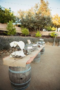 Great setup for a buffet - like the tablecloth, burlap? Rustic Temecula, California Farmhouse Wedding
