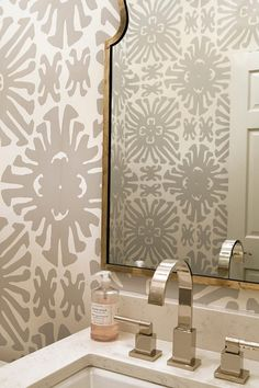 Powder Room Wallpaper Ideas. Powder Room with gray wallpaper. Beautiful powder room features walls clad in white and gray wallpaper, China Seas Sigourney Wallpaper. #PowderRoom #Wallpaper #GrayWallpaper Anita Clark Design