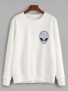 White Alien Print Sweatshirt