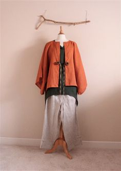 layer your linen outfit with this gorgeous linen jacket- made to order linen wide kimono sleeve by annyschooecoclothing