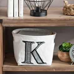 Black Monogram Canvas Storage Bins | Kirklands