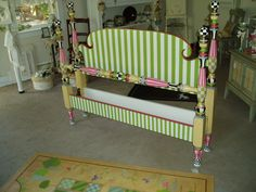 Hand Painted Furniture by Kate Gillery at Briar Cottage Studio briarcottagestudi. Whimsical Painted Furniture, Hand Painted Furniture, Paint Furniture, Furniture Makeover, Bedroom Furniture, Furniture Design, Furniture Movers, Painted Headboard, Painted Beds