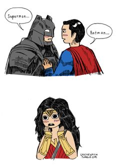 "grickenfish: ""Batman x Superman Wonder Woman ships it. Based on that movie promo pic wherein Superman is touching Batman's chest for some reason. Superman X Batman, Superman Family, Batman Robin, Superman Wonder Woman, Superbat, Fandoms, Wattpad, Batwoman, Smallville"