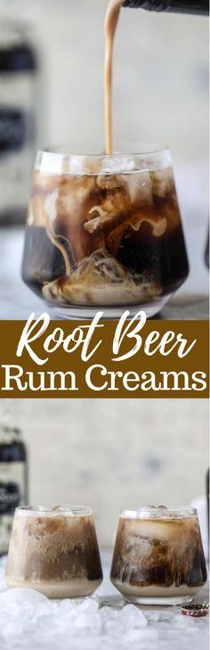 ROOT BEER RUM CREAMS - crushed ice - 2 ounces dark spiced rum - 6 ounces root beer - 1 to 2 ounces Baileys Irish Cream liqueur - Put ice in glass. Pour rum and root beer in, gently stir to mix. Creme De Rum, Rum Cream, Cream Liqueur, Whipped Cream Vodka, Vanilla Cream, Liquor Drinks, Cocktail Drinks, Beverages, Bourbon Drinks
