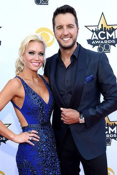 Caroline and Luke Bryan arrive at the 50th annual ACM Awards in Dallas on April 19, 2015.