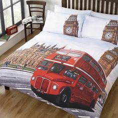 London Red Bus bedding - single & double size, ideal to create a London UK Union Jack themed bedroom #teenagers