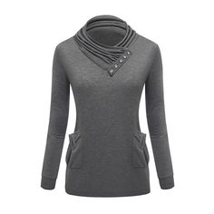 Pocket Design High Neck Grey Pullover Sweatshirt ($25) ❤ liked on Polyvore featuring tops, hoodies, sweatshirts, grey, high neck top, high neck sweatshirt, long sleeve pullover, grey pullover and gray pullover