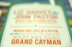 Grand Cayman wedding invitation - The Villas of the Galleon on seven mile beach