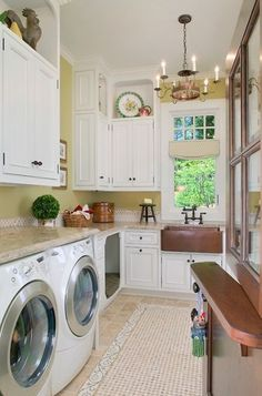 This is a GREAT use of space- note the dog bed and the door- you can keep the dog in the laundry room while having the bottom half of the door closed- genius!