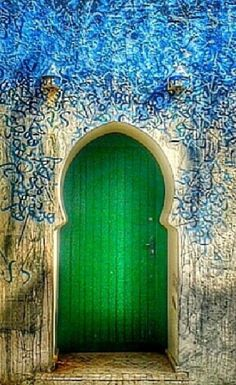 Kelly green door in Asilah, Morocco