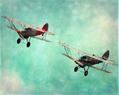 Vintage Airplane Art   Airplane Vintage Art Print - Nursery Aqua Red Silver Boy Room Home ...