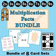 Multi-Match Game Cards BUNDLE: Multiplication Facts 2s through 9s from K-8 MathPaths on TeachersNotebook.com -  (72 pages)  - This BUNDLE contains eight different sets of multiplication cards that are great for a math center or small group activity. These cards include multiplication facts for 2s through 9s with models!