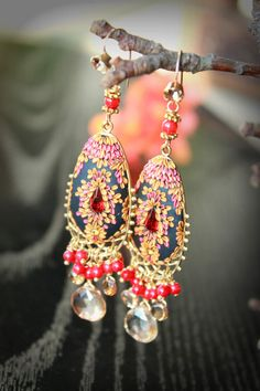 Tundra Sapphire Coral and champagne quartz earrings by Peelirohini, $78.00