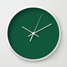 Teal The World (Green) Wall Clock by Moonshine Paradise  #earthy #teal #solid #color #art