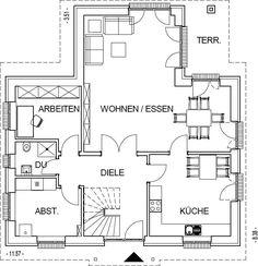 Landhaus Grundriss Erdgeschoss mit 91,61 m² Wohnfläche