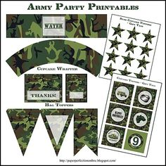 Paper Perfection Army Party Printables Themed Birthday Camouflage Armys