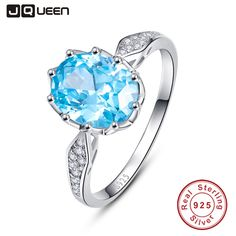 4ct Blue Topaz Gem Stone Rings 925 Sterling Silver Oval Cut bijoux anel female Ring for Women Fine Jewelry With Gift box //Price: $21.49 & FREE Shipping // #ootd #style #accessory  #stylish #cute
