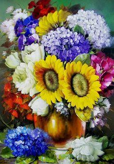 Cuadros de Flores en Jarón, Jorge Maciel, Brasil | Imágenes Arte Temático