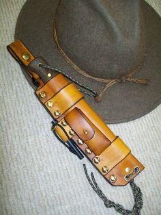 Bushcraft knife in a survival sheath made at Boulder Creek Saddle Shop, Kettle Falls, WA