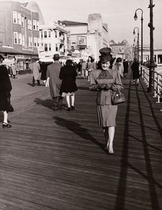 Paul Morrison took this picture of his wife, Mildred, on the boardwalk in Atlantic City, New Jersey around 1940. RP by DCH Paramus Honda Team Leader CJ Slitas http://cj-slitas.dchparamushonda.com