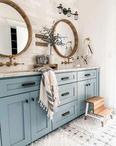 The Top 5 Interior Design Styles for 2021 - Modern Farmhouse Bathroom Farmhouse Bathroom Mirrors, Upstairs Bathrooms, Mirrors For Bathrooms, Farm House Bathroom Decor, Shiplap Master Bathroom, Decorative Bathroom Mirrors, Blue Bathrooms, Bathrooms Decor, Blue Bathroom Decor