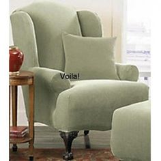 WING CHAIR Slipcover Sage Stretch Pique Green Sure Fit Wingback Slip Cover