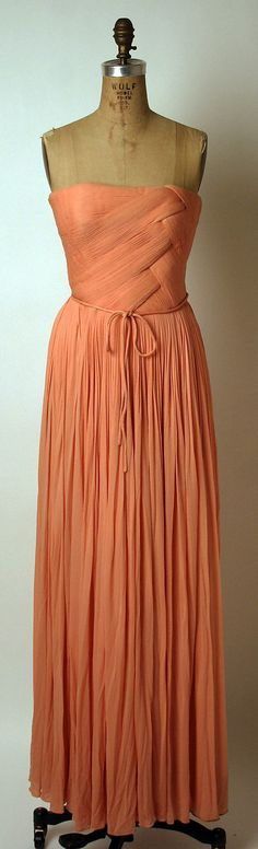 silk evening dress, Madame Gres, 1963 I'd wear this to prom! So refreshing after seeing all the glittery/tacky dresses!
