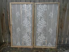 Today we completed two more lace window screens. Earlier in the summer this year, I came up with this use for old salvaged window screens. Painted Window Screens, Window Frame Art, Lace Window, Window Film, Window Coverings, Window Treatments, Window Panes, Refinished Chairs, Screened Porch Decorating
