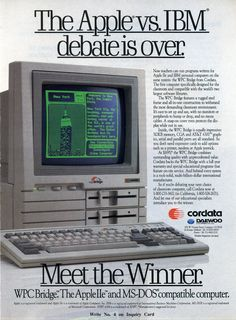 "Vintage 1988 Ad Cordata WPC Bridge PC ""The Apple vs IBM Debate Is Over"""