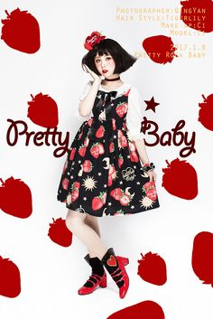 Pretty Rock Baby -Strawberries Floating In The Universe- Sweet Lolita OP Dress