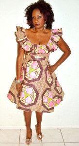 Pink And Brown Halter Ankara Dress