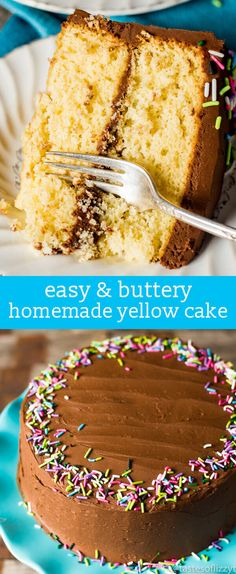 Homemade Yellow Cake Recipe {How to Make From-Scratch Buttery Yellow Cake} Hints for making a homemade yellow cake recipe. Use the right ingredients and special egg technique for a fluffy, buttery from-scratch cake. via @tastesoflizzyt