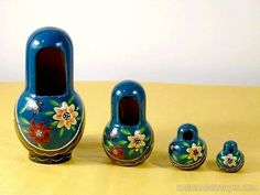 Cadre photo bleu gigogne Matriochka / poupées russes - Artisanat équitable.