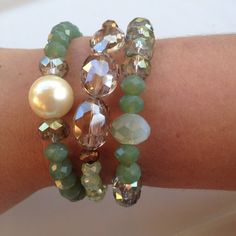 Shades of Green Bracelet Set. $30.00, via Etsy.