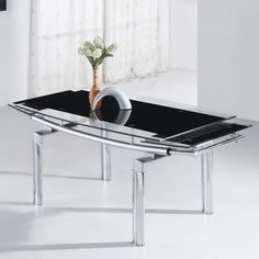 Mariah Table Only create extra space for guests st the last moment and pull out the table for extra space.Look chick in black glass. Extendable Dining Table, Dining Table Chairs, Dining Room Furniture, Black Glass, Space, Create, Christmas, Floor Space, Xmas