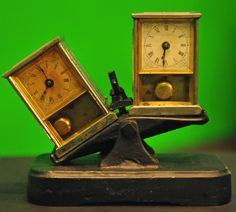 19th-century pendulum clocks that were used as timers for chess competitions.