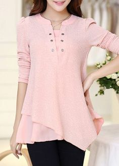 Pink Long Sleeve Asymmetric Hem Patchwork Blouse on sale only US$28.05 now, buy cheap Pink Long Sleeve Asymmetric Hem Patchwork Blouse at liligal.com