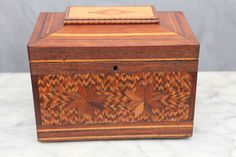 19th Century American Folk Art Parquetry Box | From a unique collection of antique and modern boxes at https://www.1stdibs.com/furniture/more-furniture-collectibles/boxes/