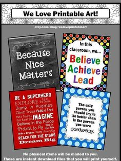 Back to School Teacher Classroom Posters: You will receive 4 printable inspirational quote posters for students. They work well for the beginning of the year as classroom decorations.