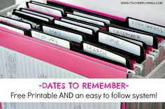 Dates to Remember – Free Printable